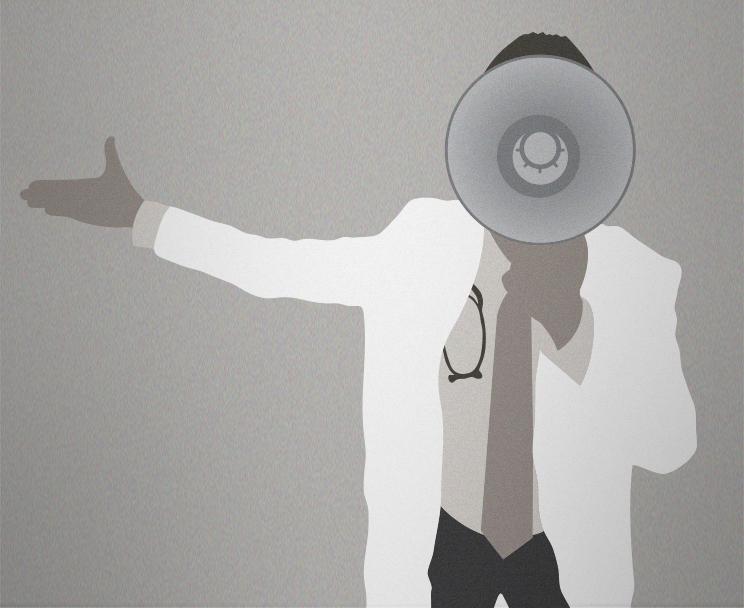 Doctor speaking through a bullhorn